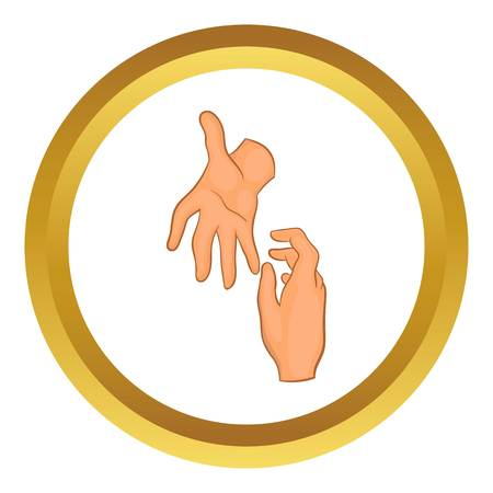 Helping hand vector icon in golden circle, cartoon style isolated on white background