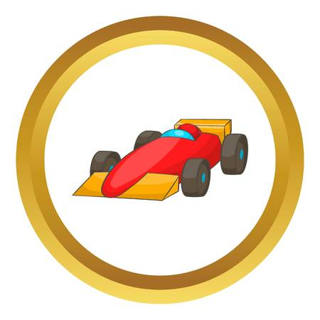 Race car vector icon in golden circle, cartoon style isolated on white background Illustration