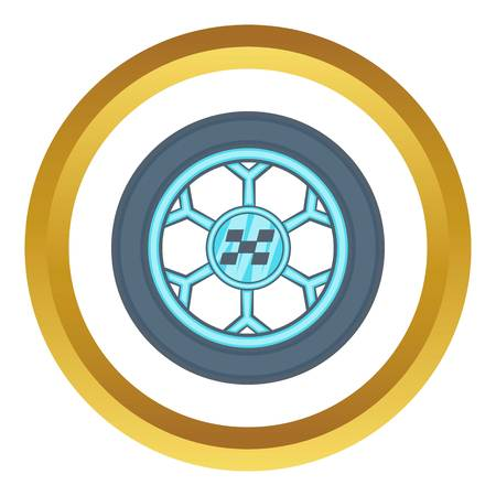 ring road: Wheel from racing car vector icon in golden circle, cartoon style isolated on white background