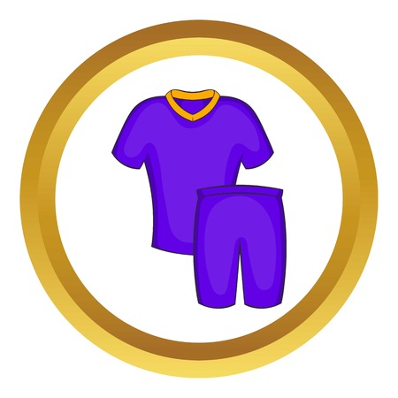 Football uniforms vector icon in golden circle, cartoon style isolated on white background Illustration