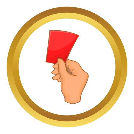 banish: Red card football vector icon in golden circle, cartoon style isolated on white background