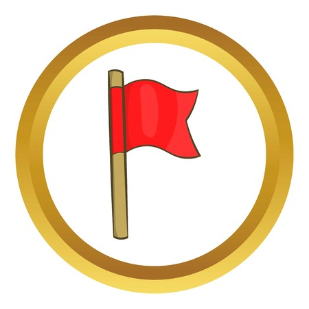 violation: Football flag vector icon in golden circle, cartoon style isolated on white background Illustration