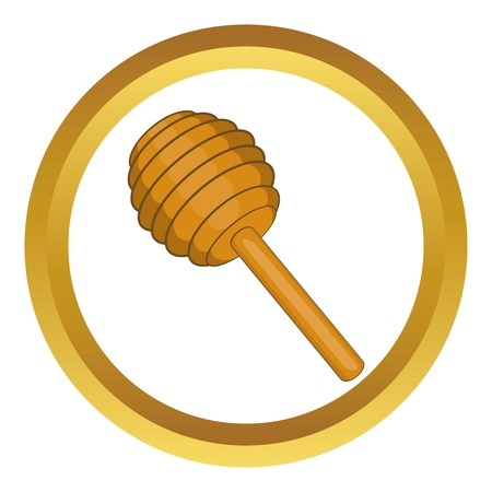 Stick for honey vector icon in golden circle, cartoon style isolated on white background