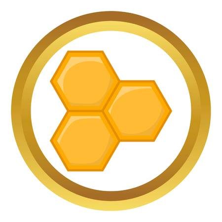 Honeycomb of bee vector icon in golden circle, cartoon style isolated on white background