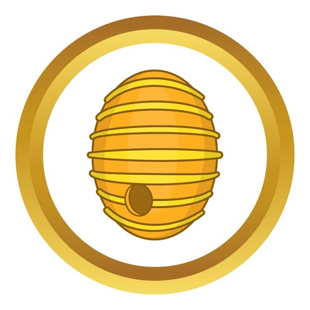 beeswax: Round beehive vector icon in golden circle, cartoon style isolated on white background