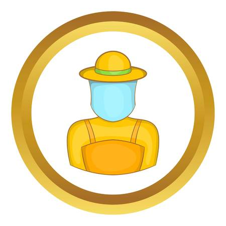 Beekeeper vector icon in golden circle, cartoon style isolated on white background Illustration