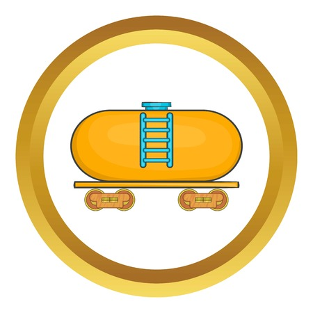 electric train: Tanker trailer on train vector icon in golden circle, cartoon style isolated on white background Illustration