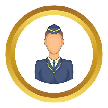 conductor: Woman train conductor vector icon in golden circle, cartoon style isolated on white background Illustration