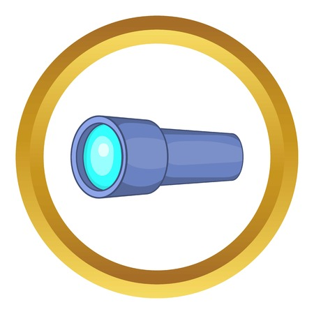 Monocular vector icon in golden circle, cartoon style isolated on white background