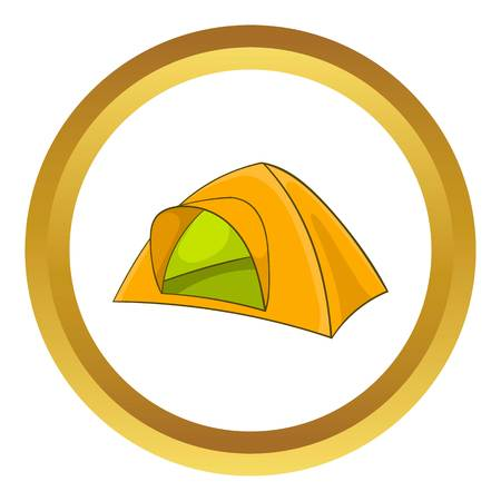 refuge: Yellow tent vector icon in golden circle, cartoon style isolated on white background