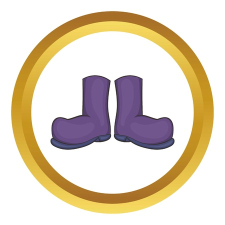 Rubber boots vector icon in golden circle, cartoon style isolated on white background Illustration