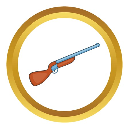 Hunting shotgun vector icon in golden circle, cartoon style isolated on white background Illustration