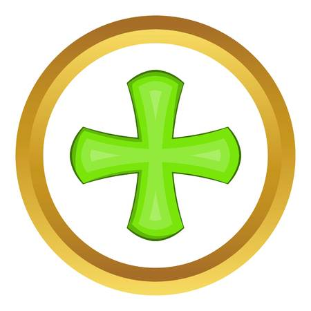 Green cross vector icon in golden circle, cartoon style isolated on white background Illustration