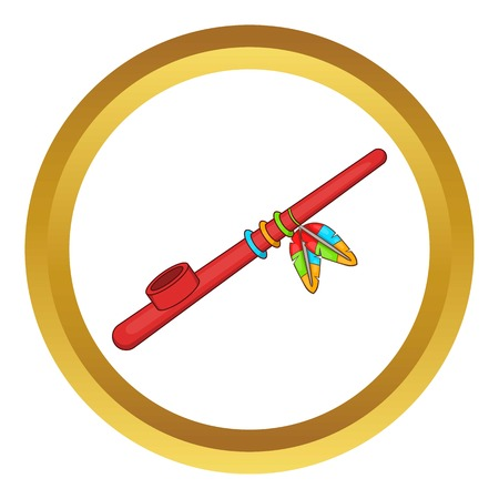 peace pipe: Indian peace pipe vector icon in golden circle, cartoon style isolated on white background