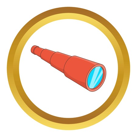 eyepiece: Antique telescope vector icon in golden circle, cartoon style isolated on white background