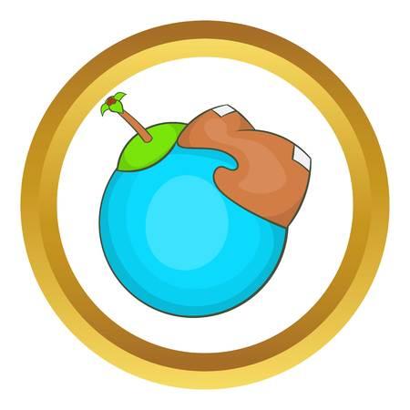 continente americano: Globo con el continente americano icono del vector en el círculo de oro, estilo de dibujos animados aislado en el fondo blanco