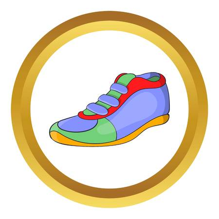 Sport shoe vector icon in golden circle, cartoon style isolated on white background