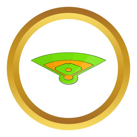 Baseball field vector icon in golden circle, cartoon style isolated on white background