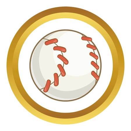 Baseball ball vector icon in golden circle, cartoon style isolated on white background Illustration
