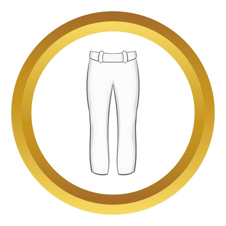 pitching: Baseball player pants vector icon in golden circle, cartoon style isolated on white background