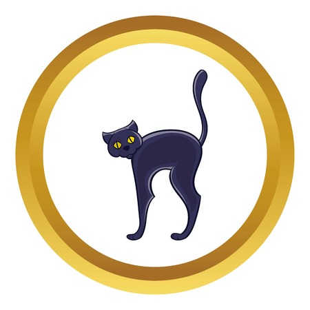 Halloween black cat vector icon in golden circle, cartoon style isolated on white background Illustration