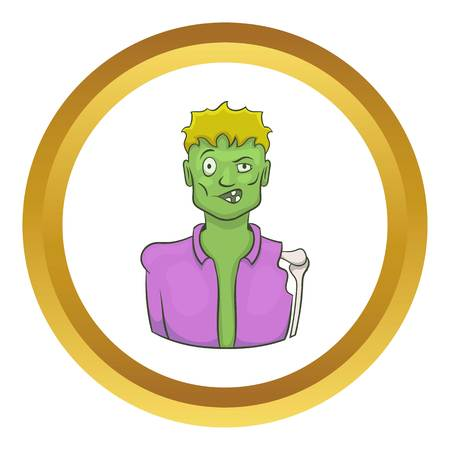 corpse: Halloween zombie vector icon in golden circle, cartoon style isolated on white background