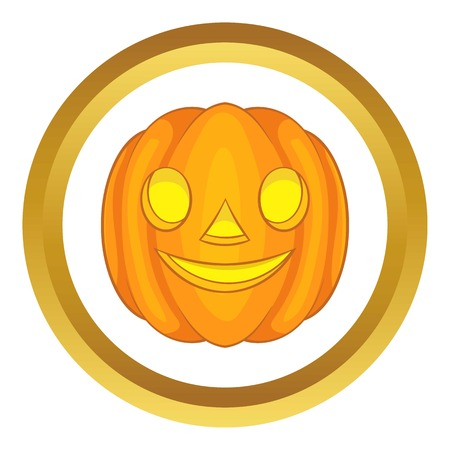 Halloween pumpkin vector icon in golden circle, cartoon style isolated on white background