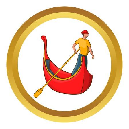 Symbol Venedig Gondel und Gondoliere Vektor in goldenen Kreis, Cartoon-Stil isoliert auf weißem Hintergrund Vektorgrafik