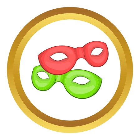 Venetian carnival mask vector icon in golden circle, cartoon style isolated on white background