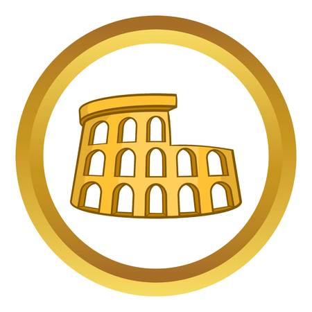 amphitheater: Roman Coliseum vector icon in golden circle, cartoon style isolated on white background