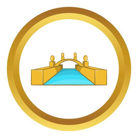 Rialto Bridge Canals of Venice vector icon in golden circle, cartoon style isolated on white background