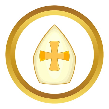 Pope hat vector icon in golden circle, cartoon style isolated on white background Illustration