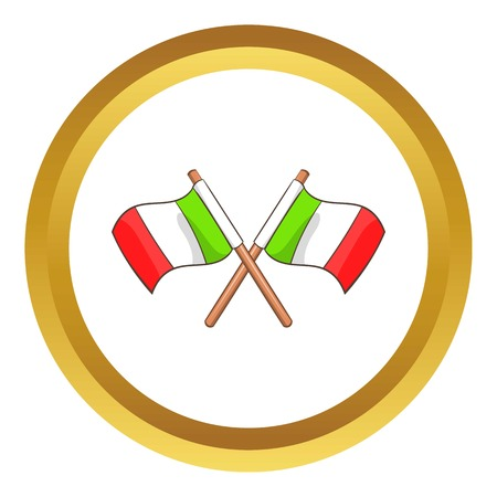 Italy crossed flags vector icon in golden circle, cartoon style isolated on white background