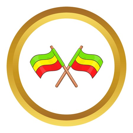 reefer: Rastafarian crossed flags vector icon in golden circle, cartoon style isolated on white background