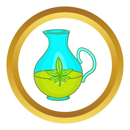 Organic hemp oil vector icon in golden circle, cartoon style isolated on white background Illustration