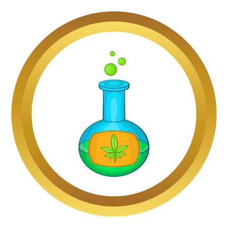 Chemical test tube with marijuana leaf vector icon in golden circle, cartoon style isolated on white background