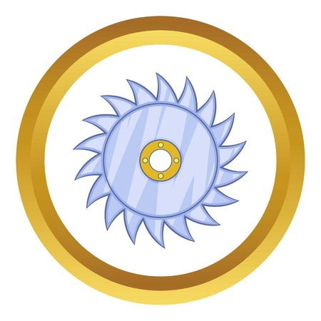 dangerous construction: Circular saw blade vector icon in golden circle, cartoon style isolated on white background