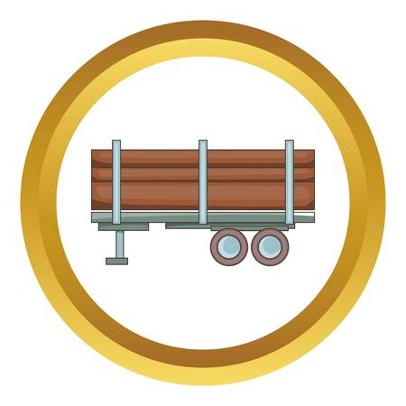 logging: Logging truck vector icon in golden circle, cartoon style isolated on white background