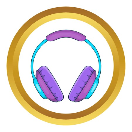 Headphone vector icon in golden circle, cartoon style isolated on white background