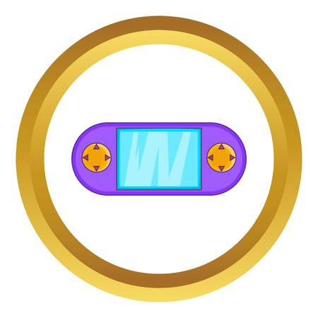 psp: Portable game console vector icon in golden circle, cartoon style isolated on white background