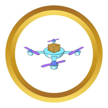 Quadcopter vector icon in golden circle, cartoon style isolated on white background