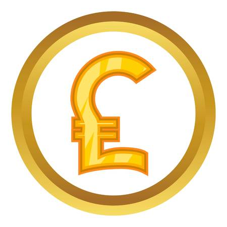Pound sign vector icon in golden circle, cartoon style isolated on white background