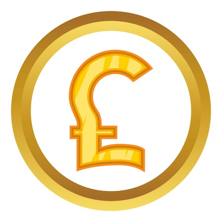 Pound sterling vector icon in golden circle, cartoon style isolated on white background