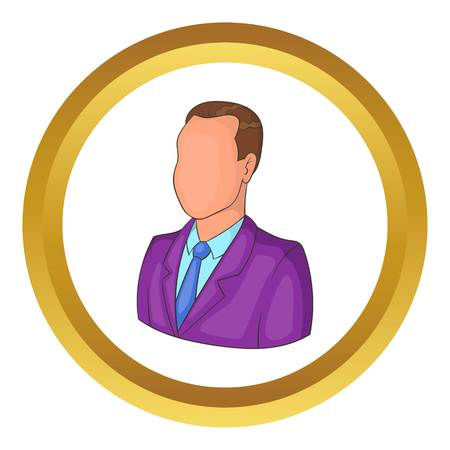 busness: Businessman or manager vector icon in golden circle, cartoon style isolated on white background