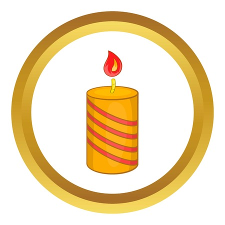 Burning candle vector icon in golden circle, cartoon style isolated on white background Illustration