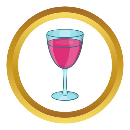 Glass of red wine vector icon in golden circle, cartoon style isolated on white background Illustration