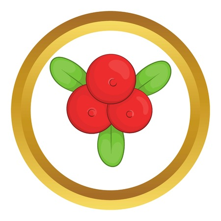 whortleberry: Cowberry vector icon in golden circle, cartoon style isolated on white background