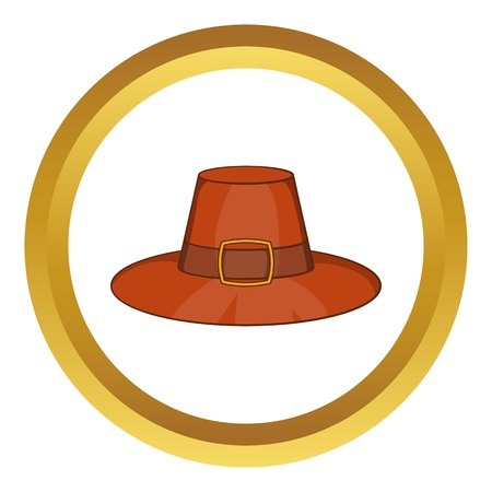 Piligrim hat vector icon in golden circle, cartoon style isolated on white background Illustration
