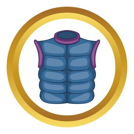 Winter quilted waistcoat vector icon in golden circle, cartoon style isolated on white background Illustration