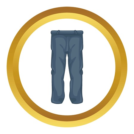 Men pants vector icon in golden circle, cartoon style isolated on white background Illustration
